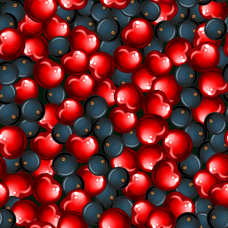 vector seamless pattern with cherry and blueberry