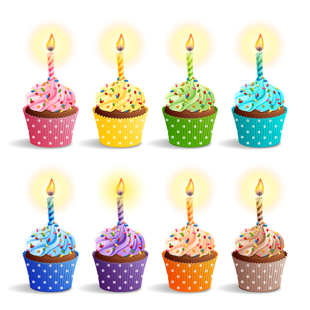 Vector icon set - colorful birthday cupcakes with candles.