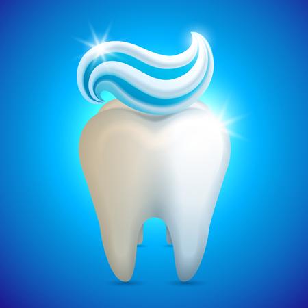 Ilustración de vector - diente con pasta de dientes, concepto de blanqueamiento de dientes