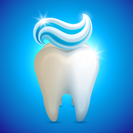 Vector illustration - tooth whith toothpaste, teeth whitening concept