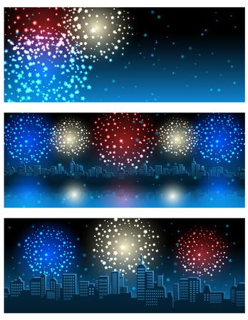 Vector illustration - set of header or banner with fireworks Illustration