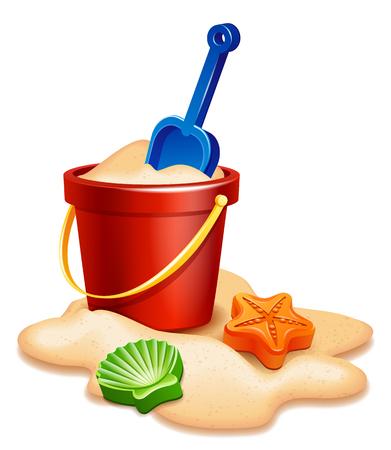 Vector illustration - Sand bucket, shovel and rake isolated on white Stock Photo