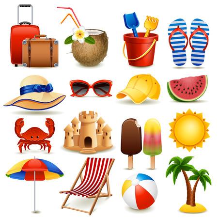 Vector illustration - summer beach icon set on white background, eps10. Illustration
