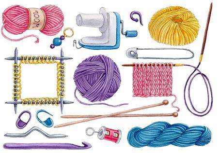 Ensemble d'outils de tricotage dessinés à la main isolé sur fond blanc Banque d'images