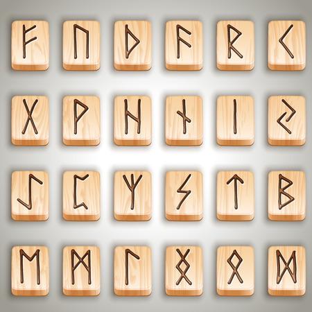 Ilustración vectorial - conjunto de runas de madera escandinavas nórdicas, alfabeto rúnico, futhark