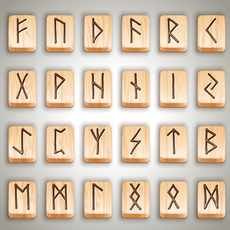 Vector illustration - set of norse scandinavian wooden runes, runic alphabet, futhark