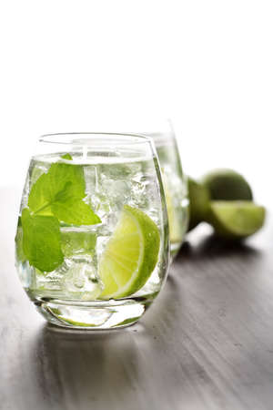 cooled: fresh mint and lime tea with ice cubes