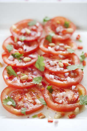 fresh sliced tomato salad  photo