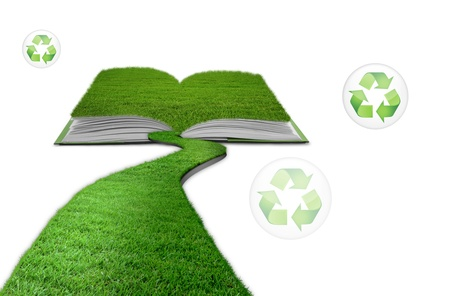 walking away: grass book recycle Stock Photo