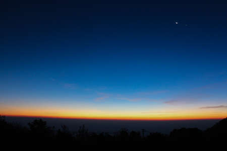 sky line: Sky line and landscape before sunrise, sun just shine and moon is still there - Landscape, background