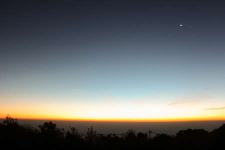 blue stars: Sky line and landscape before sunrise, sun just shine and moon is still there - Landscape, background