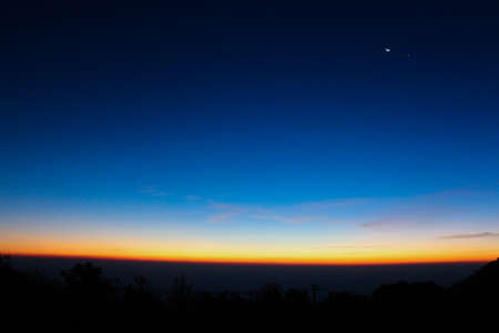 reveille: Sky line and landscape before sunrise, sun just shine and moon is still there - Landscape, background