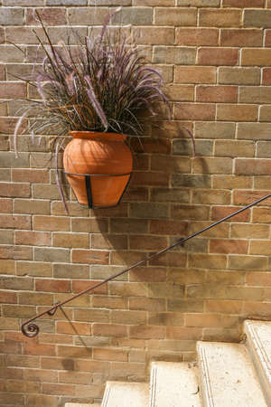 furnish: Hanging vase of dry Pennisetum on a vintage brick wall - Home decoration - Vertical picture Stock Photo
