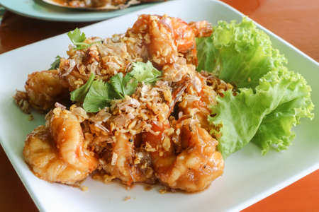 chilli sauce: Fried shrimp with chilli sauce and garlic - Thai dish Stock Photo