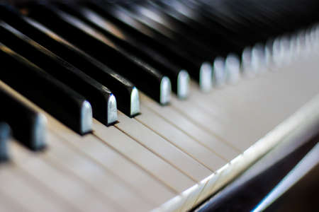 hymnal: Close up of piano keyboard - Soft focus