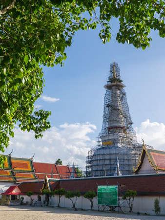 Archaeological site on renovation. Temple on renovation. Wat Phra Mahathat Woramahawihan, Nakhon Si Thammarat, Thailand