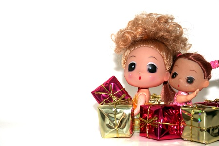 Happy New Year from dolls  Stock Photo