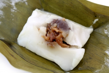 Steamed rice dough with sweet stuffing is Thai dessert