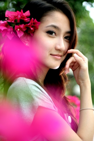 Beautiful woman in garden