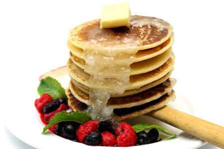 Pancake with Mixed Berry Stock Photo