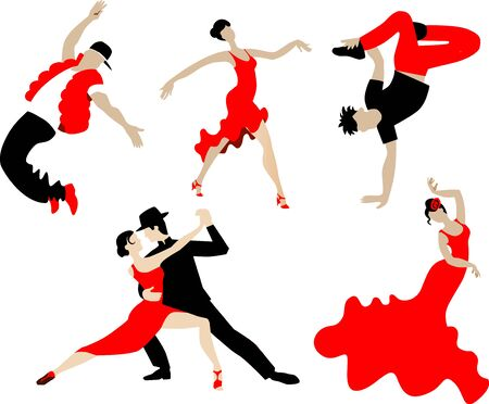 Set of dancing different dances of people in black and red. Modern dance. Latin dances and other dances.