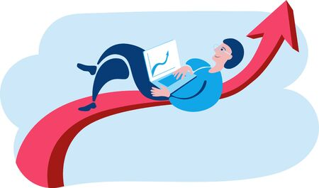 A man with a laptop is on the arrow graph. Vector illustration on the theme of Finance. Çizim