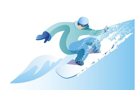 A man in a bright suit to snowboard. Winter landscape with snow. Vector illustration in flat style. Ilustrace
