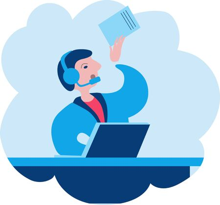 A man in headphones sitting at the computer and talking on the phone. Vector illustration on the theme of call center Çizim