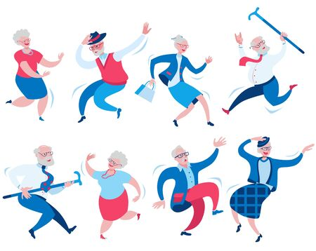 Set of eight happy dancing elderly men and women. Vector illustration on the theme of happy old age and healthy longevity in red and blue colors.