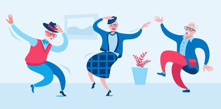 Elderly men and a woman are dancing merrily. Vector illustration in a flat style on the theme of active longevity and happy old age.