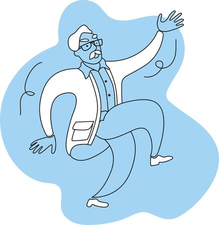 A solid man with a mustache dances merrily. Vector illustration in outline, in blue.