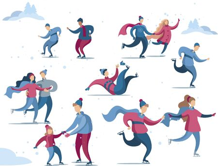 A set of characters ice-skating. Winter skating rink with people in fashionable blue and purple colors. Vector illustration in flat style.