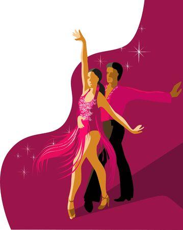 Beautiful couple dancing Latin American dance of salsa. Vector illustration in bright colors. Poster template. Stock Illustratie