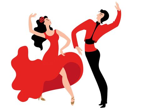 Beautiful couple dancing the Spanish dance Paso Doble. Vector illustration in a flat style in red and black. Stock Illustratie