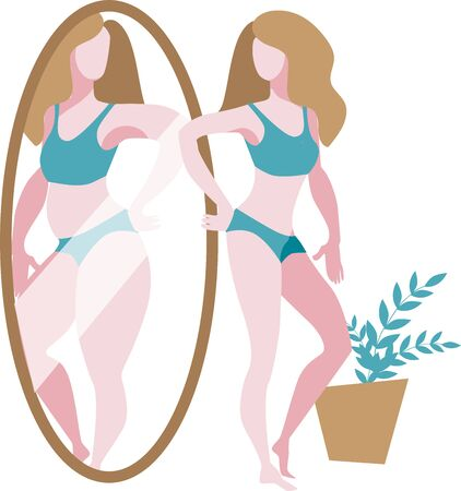 A slender girl stands in front of a mirror and sees a thick reflection of herself. Vector illustration on the theme of bodypositive, weight loss and love for your body.