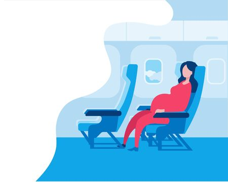 Pregnant woman sitting in an airplane seat. Vector illustration in a flat style on the theme of travel during pregnancy. Red-blue color scheme.