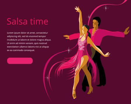 Hermosa pareja bailando baile latinoamericano de salsa. Ilustración de vector en colores brillantes. Banner o plantilla de invitación.