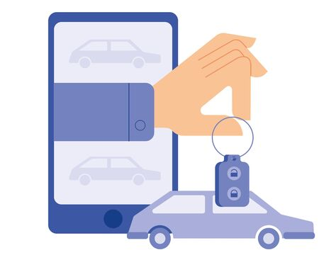 The hand issues from the smartphone the car keys. Drawing on the theme of car sharing and the use of modern technologies in life. Vector illustration in classic flat style.