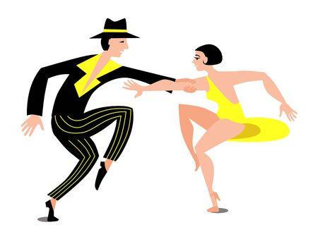 Esbelta pareja bailando baile de swing latino. La chica del vestido corto amarillo. Un hombre con pantalones negros a rayas y camisa. Ilustración de vector de estilo plano.
