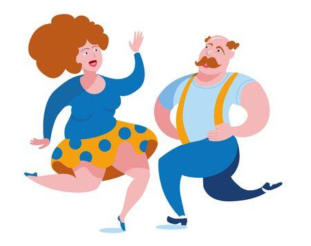 Funny fat people have fun dancing polka dance.
