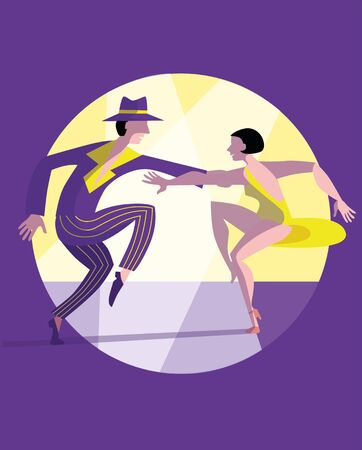 Slender couple dancing Latin swing dance. Poster or banner template.