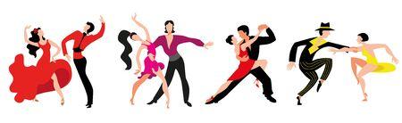 Un conjunto de parejas bailando bailes latinoamericanos. Parejas bailan Samba, Rumba, Paso Doble, Jive.