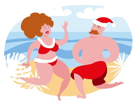 A fat woman and a man are having fun celebrating Christmas by the sea. Dancing couple in bathing suits in the style of Santa Claus. Vector illustration in cartoon style.