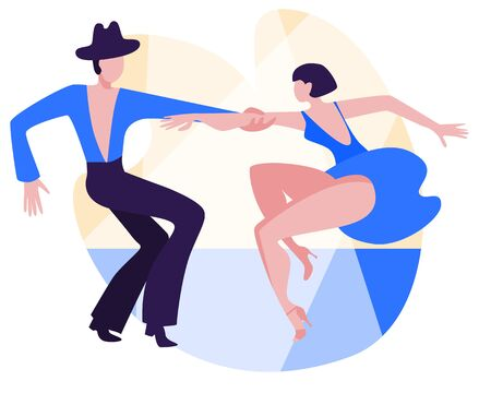 Slender couple dancing Latin swing dance. The girl in the blue short dress. A man in black pants and a shirt. Vector illustration in flat style.