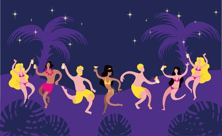 Poster, banner or flyer template about beach party. Cheerful characters dance in beach clothes with drinks in their hands against the background of the night sky and palm trees.