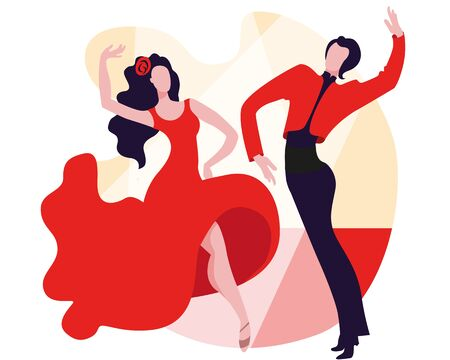 Beautiful couple dancing the Spanish dance Paso Doble. Vector illustration in a flat style in red and black. Standard-Bild - 138029950
