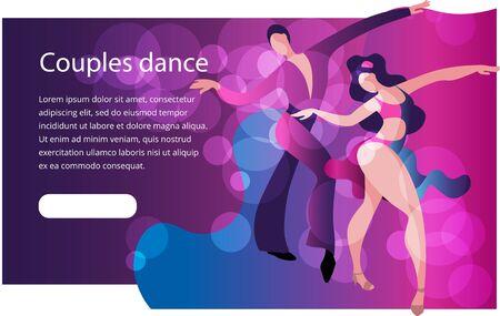 Beautiful couple dancing Latin American dance of Samba. Banner or invitation template in bright colors.