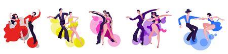 A set of images of dancing couples on the Latin American dance program. Couples dance Samba, Rumba, Paso Doble, Jive, Cha-cha-cha.