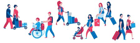A set of characters from various social categories with suitcases and backpacks. Travelers of different ages. Vector illustration in blue and red colors.