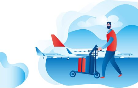 An elderly man with suitcases is boarding a plane.Vector illustration on the theme of travel of elderly people.